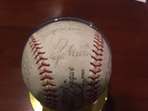 Roger Maris' autograph, with some St. Louis Cardinals teammates, on a ball belonging to my son Joe.