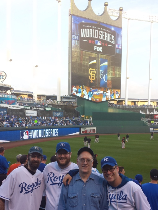 Joe, Tom, me and Mike, visiting cousin Doug in Section 110 before our visit to the Royals Hall of Fame.