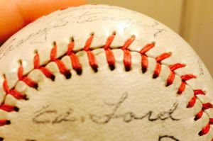 "Whitey signed this ball ""Ed. Ford"" before his better-known nickname stuck."