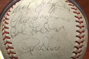 Bob Gibson's autograph, with some Cardinal teammates, on a ball belonging to my son Joe.