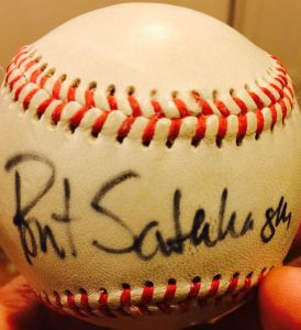 Bret Saberhagen's autograph on a ball belonging to my son Mike.