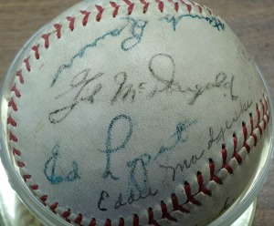 Gil McGougald's autograph (along with Hank Bauer's, Ed Lopat and Eddie Madjeski.